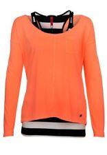 Maglie e camicie da donna arancione in seta con girocollo