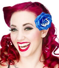60080 Blue Glitter Rose Flower Hair Clip Sourpuss Pinup Retro Kawaii Sparkles