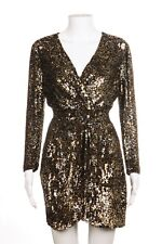 PARKER Dress Small Gold Silver Sequin Embellished Mini Party Open Back Sexy NYE