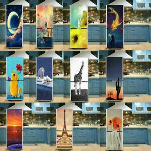 Self Adhesive Refrigerator Cover Decor Fridge Sticker Wardrobe Door Wallpaper