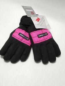 NWT - SwissTech 3M Thinsulate Girl's S-M Black & Hot Pink Ski Glove