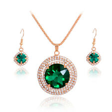Fashion Green Crystal 18K Gold Plated Necklace+Earrings Jewelry Set For Party