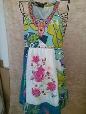 FORLA PARIS Multi-Colors Dress Art for Wear Embroidered Flowers Beaded sz L
