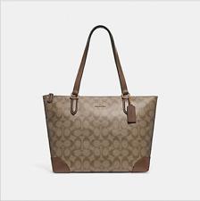 7d5c7ed098 Coach F29208 Zip Top Tote In Signature Canvas Handbag Shoulder Bag Purse  Khaki