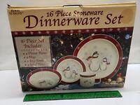 NEW ROYAL SEASONS STONEWARE 16 PIECE CHRISTMAS SNOWMAN DINNERWARE IN BOX