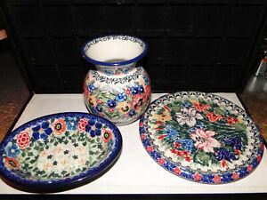Polish Pottery Unikat M Starzyk Blue Floral 3- PIECES 1-SOAP DISH,1- CUP,1-PLATE