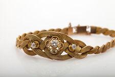 Antique Victorian 1800s 1ct Mine Cut 3 Diamond 14k Yellow Gold WEAVE Bracelet