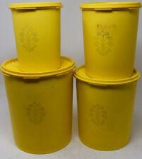 Tupperware Servalier Vintage Yellow CANISTER 4pcs SET w/lids #805 807 809 811