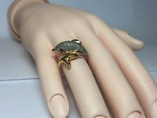 Neat! Dolphin Ring 14K Yellow Gold with Emerald Eyes Size 6.5