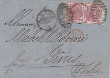 GREIT BRITAIN 1874 GB 3d rose plate 12 pair on cover from London to Italy