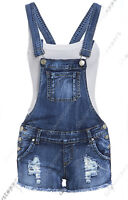 NEW DUNGAREE DENIM SHORTS Womens Size 4 6 8 10 12 Ladies DUNGAREES Hot Pants