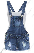 NEW DUNGAREE DENIM SHORTS Womens Size 4 6 8 10 12 Ladies DUNGAREES Hot Pants