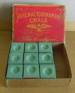 Boxed Vintage National Tournament Snooker Pool Billiard Chalk Made In USA