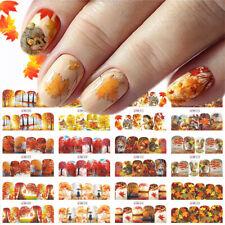 12 Sheets Nail Art Sticker Decals Autumn Maple Fallen Leaves Theme Wraps Decor