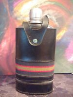 Vintage Swank Glass Flack With Leather Case