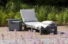 Allibert by Keter Daytona Sunlounger - Graphite With Grey Cushion