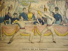 Brevet Bâton de combat XIX Lithographie Dembour Gangel Metz Battle stick diploma