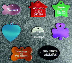 Laser Engraved pet tags + ring - 8 designs,10 colours - most fonts available