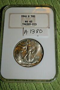 #A1380,Silver Walking Liberty NGC 1946 D MS 65