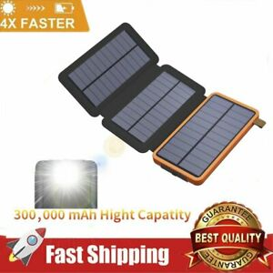 300000mAh Solar Power Bank Waterproof External Battery Charger With 3 Panels US