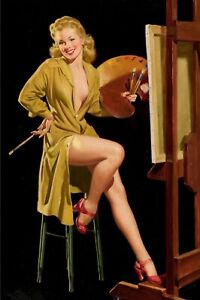 nice  Womanpin up artist with easel Famous Pin-Up War Photo 4x6 V