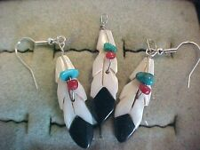 M.O.P. Onyx, Turquoise and Coral 3 piece Feather Earrings and Pendant Set