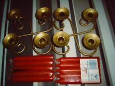 Lot de 2 bougeoirs chandelier bas metal + 10 bougies rouge neuf