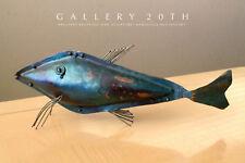 Awesome! Mid Century Modern Brutalist Fisch Skulptur! Vtg Sea 15.2mS Blau Grün