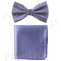 New Men's Pre-tied Bow tie & hankie set purple plaids & checkers formal