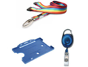 ID Card Holder, Neck Strap Lanyard with clip & Retractable YoYo Badge Reel NHS