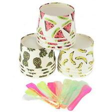 12x Summer Party Fruit Design Ice Cream Tubs w/ Spoons Icecream Bowl Kids Picnic