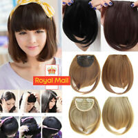 Fashion Thin Neat Air Bangs Remy Human Hair Extensions Clip in on Fringe Bang UK