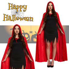 Women's Red Hooded Cape Velvet Cloak Halloween Costume Fancy Dress Devil Vampire