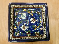 3 square plates (2), Fishes, Armenian Ceramic, Made in Israel. 13 cm