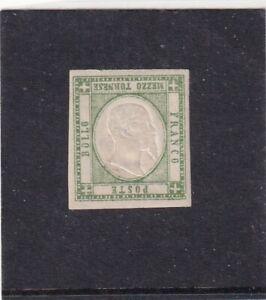 ITALIA ITALIAN STATES NAPOLI NAPLES 1861 1/2t VERDE GIALLO* MH - EFF. CAPOVOLTA