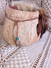 NATIVE AMERICAN INDIAN Basket Bird Feather & Turquoise Bead UNIQUE One of a Kind
