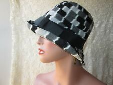 Vintage Women Black Deep Cloche Hat Bucket White Gray White Check Wide Brim