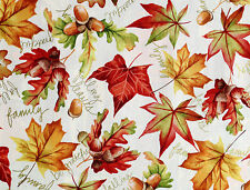 FAT QUARTER HARVEST LEAVES ACORN GRATEFUL FAMILY METALLIC 100% COTTON FABRIC FQ