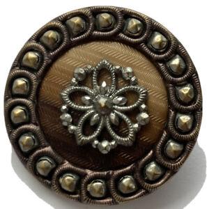 "Antique Vintage Large Celluloid And Metal Button 1- 1/4"""