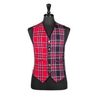 Men's Vest Red Tartan Check Plaid Retro Formal Suit Waistcoat Large
