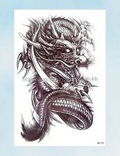 "US Seller-Asian dragon large 8.25"" half-sleeve arm tattoo body decal"