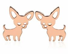 Childrens Girls 925 Sterling Silver Rose Gold chihuahua  dog Stud earrings boxed