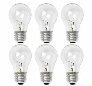 Sterl Lighting Pack of 6 A15 Clear Incandescent Light Bulb 15W/120V E26 Base