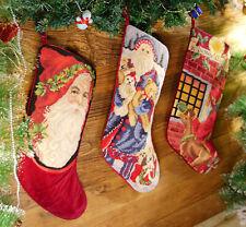 Beautiful Needlepoint Christmas Stocking Xmas Happ Busy Santa Clause & Toys