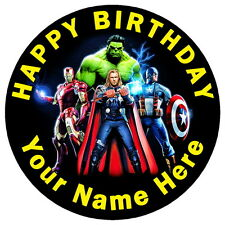 """AVENGERS CORE TEAM - 7.5"""" PERSONALISED ROUND EDIBLE ICING CAKE TOPPER"""