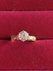SOLID 14K GOLD HAWAIIAN GUAM MICRONESIAN TROPICAL BAMBOO RING Vintage! CZ Stone.
