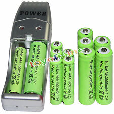6 AA 3000mAh+ 6 AAA 1800mAh 1.2V NI-MH green Rechargeable Battery +USB Charger