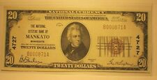 New listing $20 1929 Mankato Minnesota Mn National Currency Bank Note Bill Uncirculated/Au