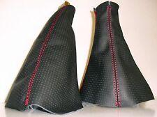 OPEL CORSA C GAITER & HANDBRAKE GEAR BLACK LEATHER PERFORATED RED SEAMS