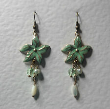 GREEN ENAMEL FLOWER EARRINGS MATT GOLD PLATED WITH PEARL DANGLES HOOK